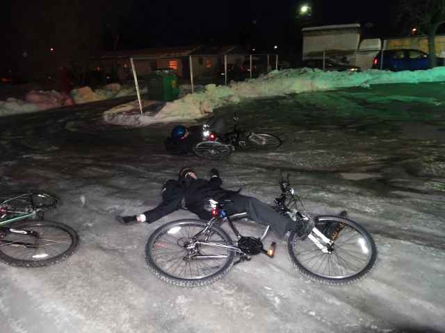 Biking on the ice doesnt always work!  Elders Cybulski, Carpenter, and Huffcutt